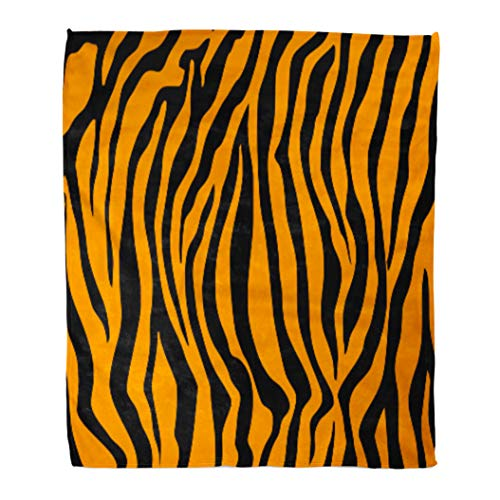 Golee Throw Blanket Bengal Pattern Tiger Orange Stripe Black Jungle Safari Animal Abstract 60x80 Inches Warm Fuzzy Soft Blanket for Bed Sofa