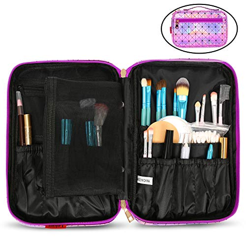 NiceEbag Makeup Brush Bag Professional Makeup Brush Holder for Women Leather Brush Organizer Bag Travel Makeup Pouch with Detachable Mesh Pocket for Cosmetics Make Up Tools, Shining Purple