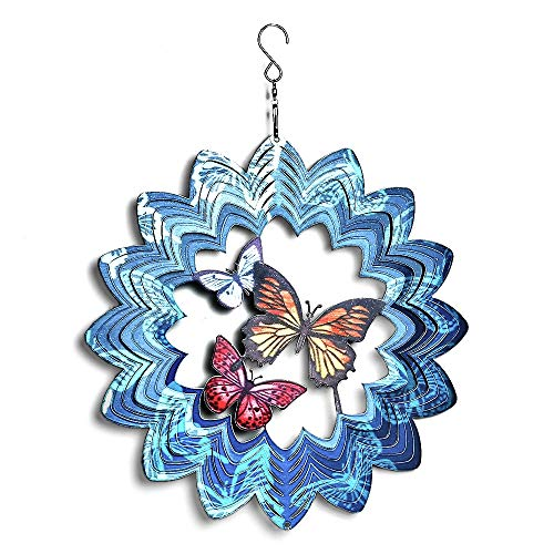 Mandala Wind Spinner Garden Ornaments Outdoor Metal 3D Butterfly Hanging Décor Stainless Steel Decoration For Indoor Wind Sculptures & Spinners Whirligig Gifts Catchers-12inch