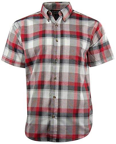 Mens Classic Plaid Short Sleeve Casual Shirt; Button Down