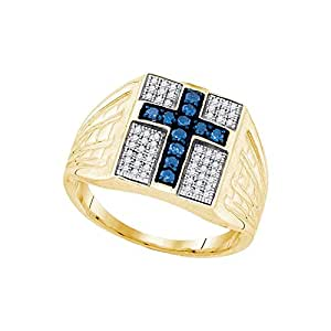 0.50ctw Mens Blue & White Round Diamond Cross Ring Wedding Band