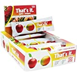 Apples + Mango Thats it. 100% Natural Real Fruit Bar, Best High Fiber Vegan, Gluten Free Healthy Snack, Paleo for Children & Adults, Non GMO Sugar-Free, No preservatives Energy Food, (12 Per Pack)