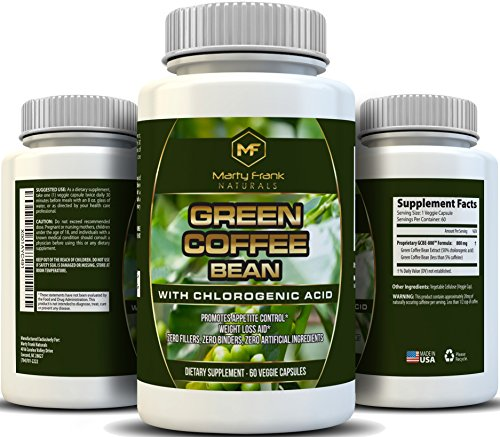 Marty Frank Naturals Green Coffee Bean with Clorogenic Acid, For Weight Loss and Blood Pressure Control, 60 Veggie Caps For Sale