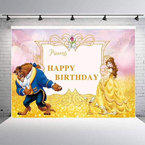TJ 7x5ft Vinyl Beaty and The Beast Photography Backdrops Happy Birthday Party Decoration Banner Princess Party Supplies Photo Background Studio Props Booth