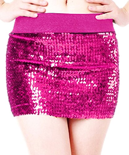 Mini Hot Skirt - Alivila.Y Fashion Women's Sparkling Sequins Stretch Mini Skirt Dress 3471-Hot Pink