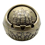 TOWOMO Vintage Cigar Ashtray with Lid, Castle Pattern-Antique Brass(Mini)