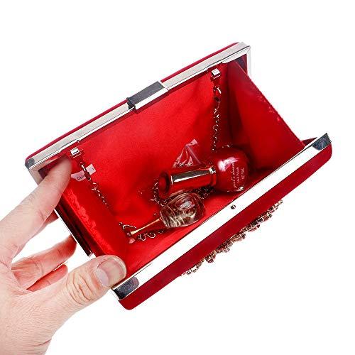 Style Bolso del la Nupcial Las Bolso Honor China Shinning Maybesky de Mujeres del Baile para Chica de Dama de Fin Dama del de cóctel de Diamante Curso Rojo Rojo Dama Clutch Evening Boda Color 7YqgPvw