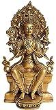 AapnoCraft 11'' Thai Maitreya Buddha Sculpture Handmade Buddha Sitting On Throne Statue Ancient Brass Buddhism Figurine Wedding Gifts