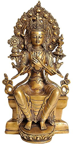 AapnoCraft 11'' Thai Maitreya Buddha Sculpture Handmade Buddha Sitting On Throne Statue Ancient Brass Buddhism Figurine Wedding Gifts by AapnoCraft