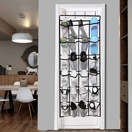 Over the Door Hanging Shoe Organizer, 24 Large Mesh Pockets Shoes Storage and Closet Organizer With 4 Unique Customized Strong Metal Hooks for Kitchen Accessory Holder - Space Saving Solution(White)