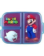 p:os 33162 broodtrommel met Super Mario motief, met 3 vakken, ca. 14 x 18,5 x 5,5 cm, van kunststof, bpa- en ftalaatvrij, ideaal voor de ontbijtpauze, voor kleuterschool en school, meerkleurig