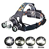 Genwiss 6000LM 3 x XML 3T6 LED Rechargeable HeadLamp HeadLight Tourch 2 x 18650 Batteries, Charger, Car Charger for Outdoor Sports