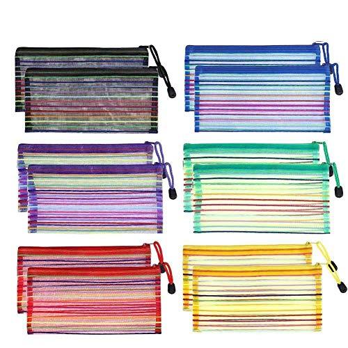 24 Pack Zipper Mesh Bag, Plastic Zipper Waterproof Mesh Bag Zip Document Pouches Travel Storage Bags in 6 Colors