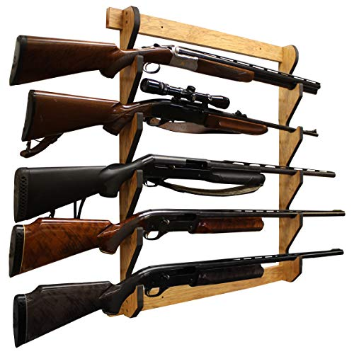 Rush Creek Creations Indoor 5 Rifle/Shotgun Wall Storage Display Rack American Cherry Finish - Convenient Easy Assembly