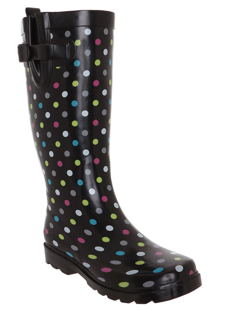 Capelli New York Simple Multi Dots Printed Ladies Tall Rubber Rain Boot Multi Rainbow Combo 10