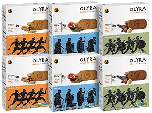 Olyra: Organic Breakfast Biscuits - USDA Organic - Non-GMO - All Natural Ingredients - Made With Ancient Greek Whole Grains - Sustain Energy Levels - (Multipack) - 6 Boxes (24 - Plant Whole Food