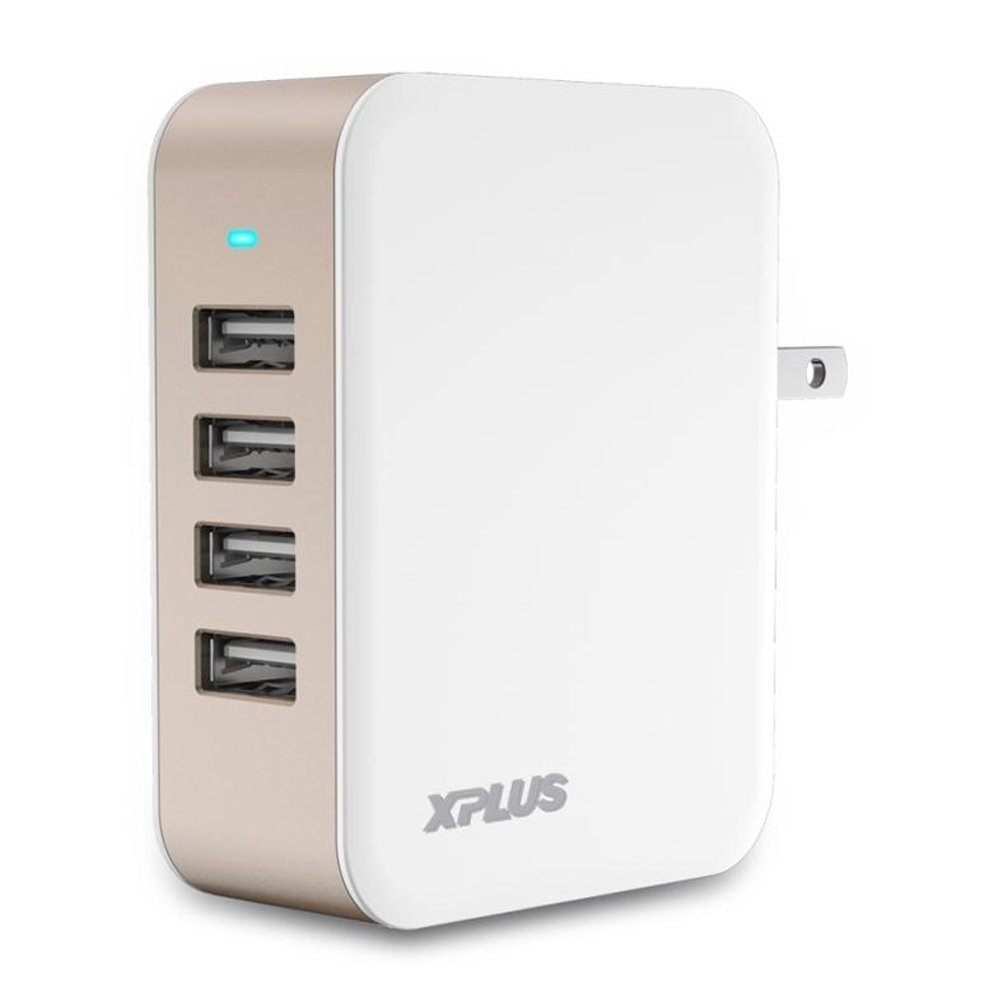 USB Wall Charger,XPLUS 24W/4.8A, 4-Port USB Wall Charging Station with iSmart Technology,USB Wall Power Adapter with Foldable Plug for iPhone X /8/7/7Plus, iPad Air 2/Pro, Galaxy S6, and More(Gold)