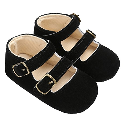 Baby Girls Double Buckle Straps Suede Mary Jane Soft Sole Princess Dress Shoes Black Size S -