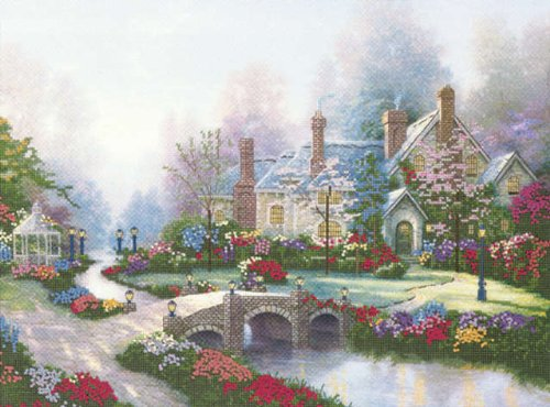 Thomas Kinkade Beyond Spring Gate Embellished Cross Stitch K-12X16 Printed