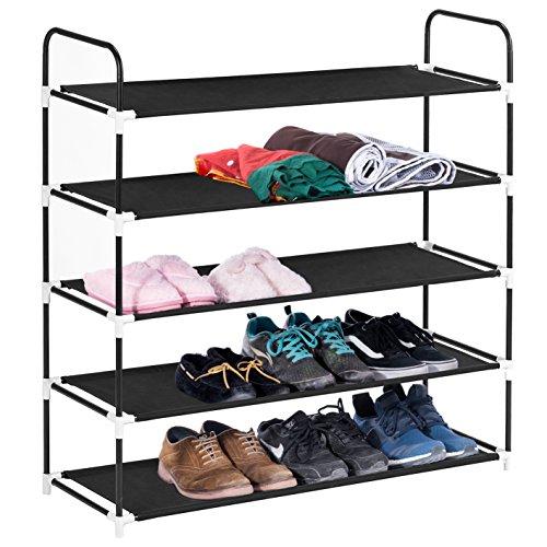 5 Tiers Shoe Rack, MaidMAX 5-Shelf Metal Frame ...