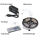 Lampwin RGB LED Strip Light Kit with 16.4FT DC 12V Flexible IP65 Waterproof 300 Units SMD 3528 Color Changing LED Rope Light, Multi-color 44 Key IR Remote Controller, DC 12V 2A Power Supply Adapter