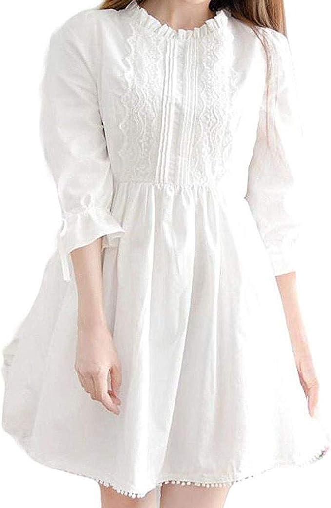Vestido Blanco de Moda con Encaje Estilo japonés, Vestido de ...