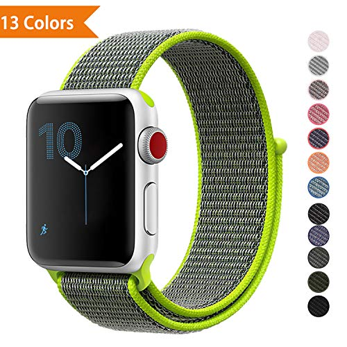 YOUKEX Watch Strape Wrist-Band Compatible with Apple Watch 38mm 42mm, Soft Nylon Sport Loop, Replacement Band for iWatch Series 1, Series 2, Series 3, Series 4, Sport, Edition 42MM Flash