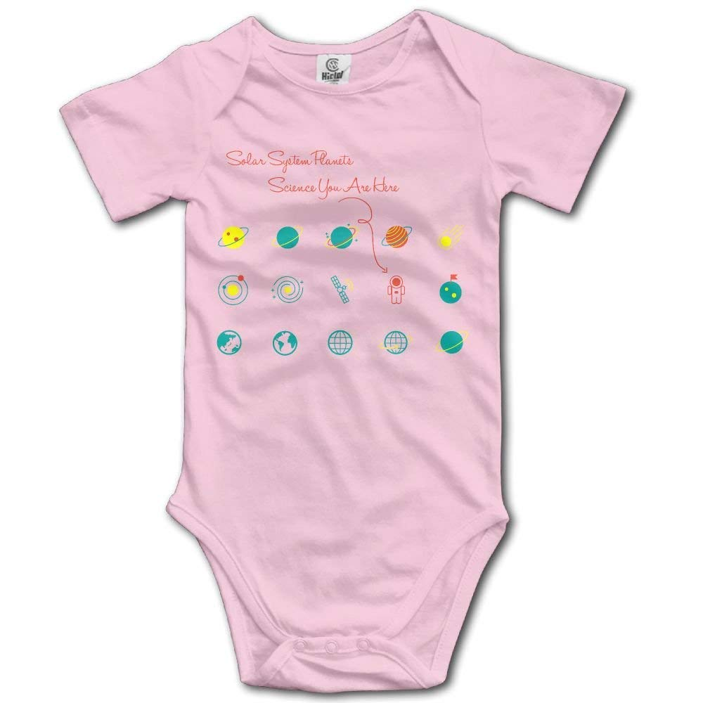 Solar System Planets Science You are Here Graphic Newborn Baby Short Sleeve Romper Infant Summer Clothing