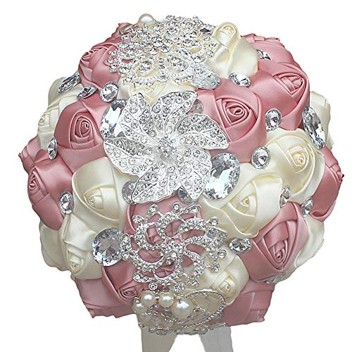 DOTKV Wedding Bouquet, Artifical Rose Posy with Satin Jeweled Throw Bouquet, Bridesmaid Holding Flowers,Wedding Bouquets Silk Flower, Wedding Memories -