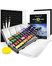 Magicfly Watercolor Paint Set, 48 Vivid Water Colours Paint (Including Classic, Pearlescent, Fluorescent & Metallic Colours) in Portable Tin Box, with 3 Watercolor Brush Pens, 10 Sheets Watercolor Paper Pad, Half Pan Palette & Sponge, Great Watercolour Art Supplies Starter Kit for Kids & Adults