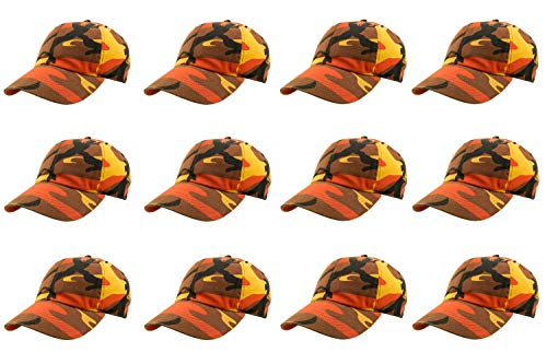 Gelante Baseball Caps 100% Cotton Plain Blank Adjustable Size Wholesale LOT 12 Pack (Orange - Youth Adjustable Cap Camo
