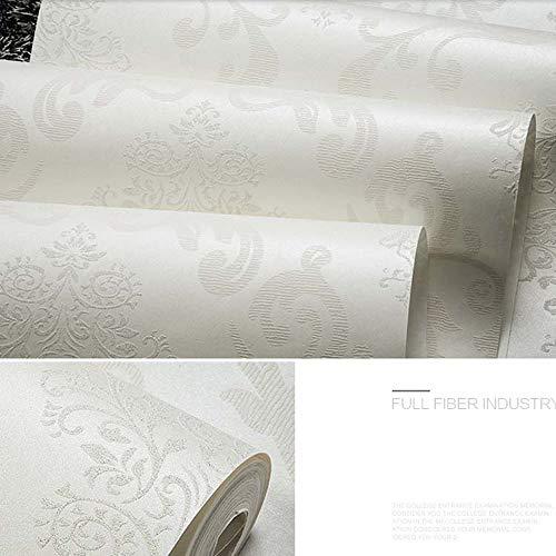 QIHANG European Style Luxury 3D Damask Pearl Powder Non-woven Wallpaper Roll Cream-white Color 0.53m x 10m=5.3㎡ by QIHANG (Image #4)