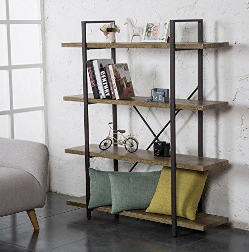 O&K Furniture 4-Tier Bookcase, Vintage Industrial Style Bookshelves by O&K Furniture