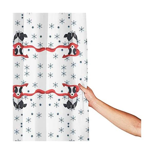 JDHWSC Border Collie Christmas (1) Polyester Shower Curtain 60 X 72 Inch Fabric Waterproof Mildew Shower Curtain with Full Iron Material Hook+Stainless Steel Hole Bathroom Decoration 3