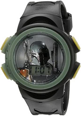 Star Wars Kids' Boba Fett Digital Display Quartz Black Watch