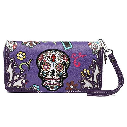 Sugar Skull Western Cross Clutch Wallet Day of the Dead Wristlet Purse Calavera (Purple)