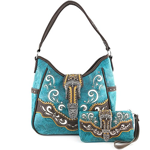 Brown Purse Tooled Laser Cut Floral Design Studs Rhinestone Buckle Concealed Carry Handbag With Trifold Wristlet Cross Body Strap Wallet Set (Turquoise) (Floral Buckle Set)