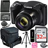 Canon PowerShot SX420 20 MP Digital Camera (Black) + 64GB SDHC Memory Card + Deluxe Carrying Case + Extra Battery + 50 Quality Tripod + Hand Grip + Complete Camera Works Accessory & Cleaning Kit
