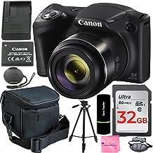 """[Patrocinado] Canon PowerShot SX42020MP cámara digital (Negro) + 64GB SDHC tarjeta de memoria + Deluxe funda de transporte + Batería Extra + 50"""" calidad trípode + agarre de mano + completo funciona de cámara accesorios & kit de limpieza"""