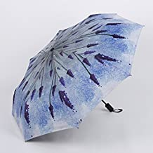 GKRY Fashion Art Umbrella /Windproof Travel Umbrellas/Folding Umbrella/for Business and Travels/ SPF 261+ SUN RAIN Umbrella /RAIN Umbrella Small fresh lavender vinyl umbrella 3 fold umbrella