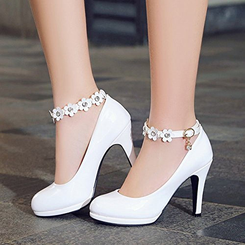 Mee Shoes Damen high heels ankle strap Blumen Pumps Weiß