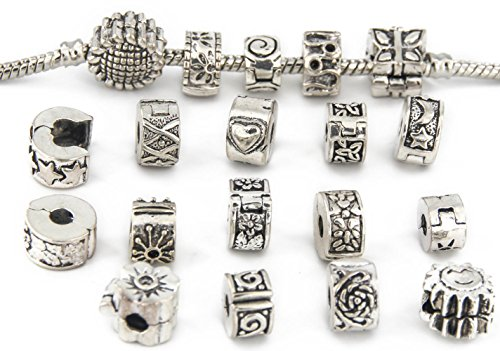 Yeshan 16pcs Antique Silver Clip Lock Stopper Bead Bracelet Charms with 16pcs Rubber Stopper O-Rings -