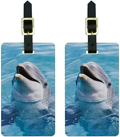 Dolphins Ocean Baggage Tag For Travel Bag Suitcase Accessories 2 Pack Luggage Tags