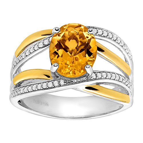 2 1/5 ct Natural Citrine & 1/8 ct Diamond Ring in Sterling Silver & 14K Gold Size 7 by Finecraft