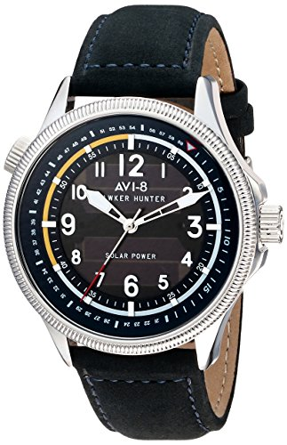 AVI-8 Men's AV-4018-03 Hawker Hunter Watch Stainless Steel Solar Watch with Black Genuine Leather Band