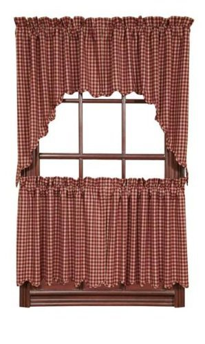 """VHC Brands Burgundy Check 24"""" Lined Rod Pocket Tier in Tan"""