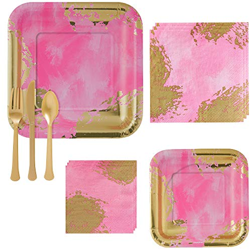 Party City Pink Brushstroke Tableware Supplies for 16 Guests, Include Pink and Gold Plates and Napkins, plus Utensils]()