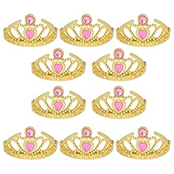 (10 Pack) Princess Tiaras and Crowns for Little Girls Plastic Gold Tiara for Child from 3 Years Up Party Favors