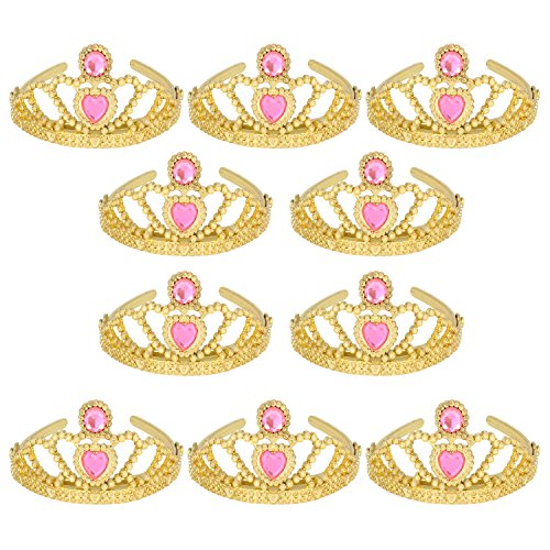 XiangGuanQianYing (10 Pack) Princess Tiaras and Crowns for Little Girls Plastic Gold Tiara for Child from 3 Years Up Party -