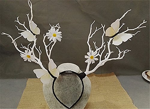 Christmas Fairy & Witch Tree Branches Antlers Headband Cosplay Party Butterfly Flower Headpiece Decoration Steampunk Vintage (5) (Punk Witch)